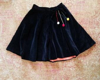 REDUCED Vintage 1940s juniors black velvet skirt   40s full circle skirt