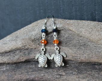 Sea Turtle Jewelry from Hawaii - Honu Earrings - Hawaii Sea Turtle Earrings - Hawaiian Honu Jewelry - Hawaiian Jewelry - Beach Earrings