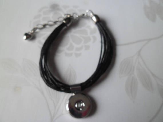 x 1 bracelet en cordon cir noir pour bouton pression m tal. Black Bedroom Furniture Sets. Home Design Ideas