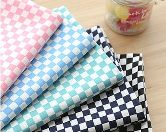 "Chessboard Semi-sheer Cotton Fabric, Lightweight and Thin - Pink, Sky, Mint Green, Navy or Black - 57"" Wide - By the Yard 100144"