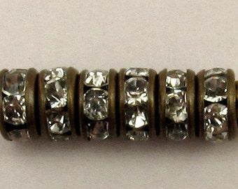 Bead, Rhinestone Rondelle Spacer Antique Brass, Crystal 4.5mm 6 Pc. C220