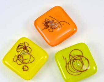 Magnet Set, Spring Bling, Abstract Copper, Bubble - Fused Glass