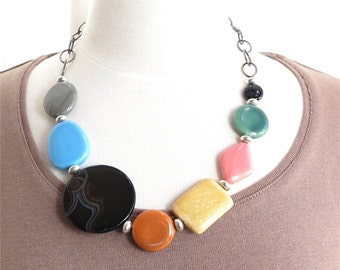 Colorful ceramic bead necklace and chain. HALF PRICE SALE. Take 50% off.
