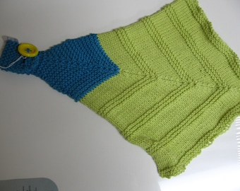 Hand knit hand towel in soft cotton blend