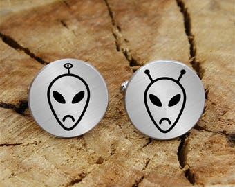 Engraved extraterrestrial cuff links, engraved alien, engraved cufflinks, custom personalized cufflinks tie clip, engraved wedding cufflinks