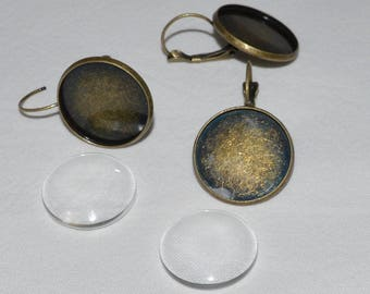 4 pieces: 2 bronze earrings antique 2 cabochon 20mm