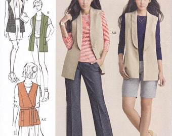 FREE US SHIP Simplicity 8054 Sewing Pattern Vest Wrap Lapels 8/16 Size 8 10 12 14 16  Bust 31 32 34 36 38 Uncut New