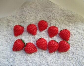 CAMEES FRAISES ACRYLIC lot de 10 cabochons  embellissement demi fraise 1.8 cm  a coller  pour tous vos loisirs créatifs