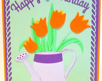 Tulips Birthday Card/Homemade-Handmade Cards/Cottage Cutz Cards/Greeting Cards/Happy Birthday/Spring Birthday