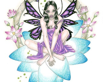 Lotus Fantasy-A colorful giclee print on fine art paper, originally done in colored pencil, ink and graphite