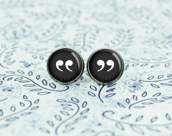 Quotation Mark Earrings - Book Lover Earrings - Punctuation - Bookish Jewelry -  Book Gift - (H4400)