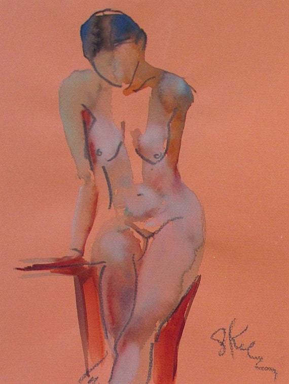 Nude painting- Original watercolor painting of Nude #1338 by Gretchen Kelly