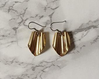 golden origami earrings | pentagon srunched geometric origami