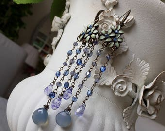 FREE FAST SHIPPING Sapphire rondelles and calcedony earrings with vintage elements one-of-a-kind
