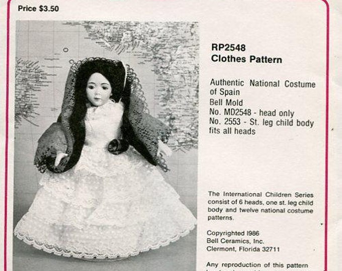 "FREE usa SHIP Bell Ceramics 2548 9.5"" Doll Clothes Wardrobe Spain Spanish 1986  Craft Out of Print Old Store Stock Sewing Pattern"