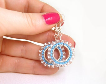 Small Beaded Hoop Earrings: Blue Seed Bead Dangly Earrings, Seed Bead Earrings
