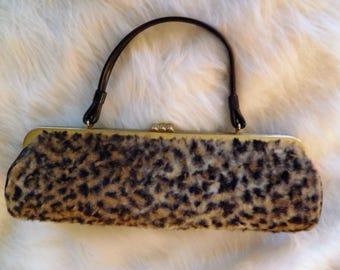 Vintage Leopard Print Faux Fur Purse, Bag