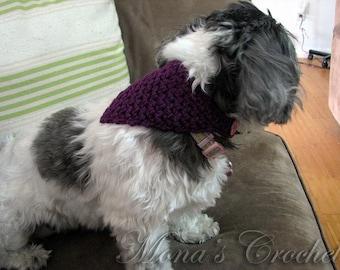 Hand Crocheted Purple Small Dog Bandana