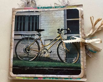 Bicycle Journal, Vintage Style Junk Journal, Paper Bag Journal, Bicycle Diary, Cyclist Gift, Cyclist Journal, Bicycle enthusiast, Rustic
