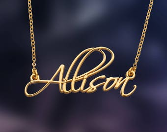 Personal with Custom Name Necklace, Personalized Name Necklace, with Any Name up to 10 letters, 24K Gold Plated