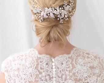 Floral Bridal Hair Comb, Pearl Bridal Hair Comb, Floral Bridal Backpiece, Bridal Back Comb, Hair Accessory, Bridal Headpiece, Bride ~TC-2306