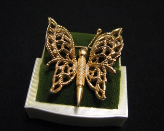 """Vintage Monet 1966 """"Monet's Menagerie"""" Gold Tone Filigree Butterfly Pin Brooch BOOK PIECE"""