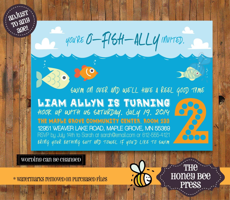 O-FISH-ally Invited Fishing Birthday Invitation 1st 2nd