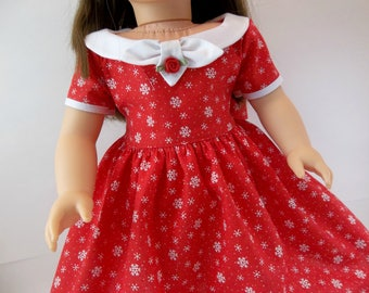18 inch Doll Dress Fits American Girl Doll Red Snowflake Dress