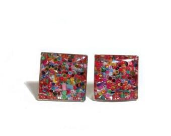 Rainbow glitter studs - mom - wife - Sparkle studs - Rainbow glitter square studs  - girlfriend gift - glitter earrings - bridesmaid gift