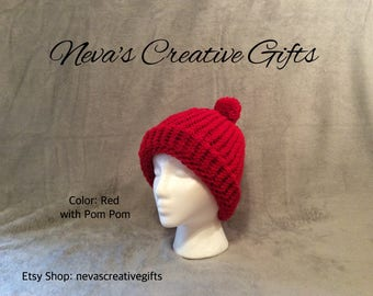 RED  -  Warm, Cozy Winter Hat  -  Your Choice of Pom Pom