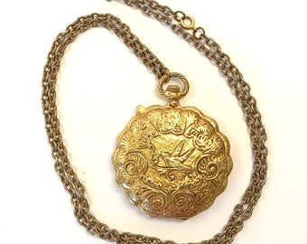 Max Factor - Gold Compact Mirror - Pendant Necklace - Pocket Watch Chain - Chunky Jewelry - Bird Necklace - Mother's Day - Gift for Her