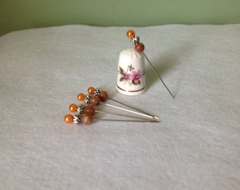 """Set of 5, 2"""" Fancy Tangerine Pearl Beaded Corsage/Straight Pins"""