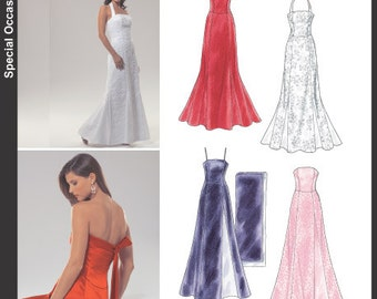 New Look Pattern 6454 Misses' Evening Gowns and Shawl