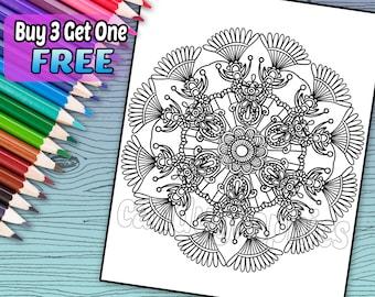 Mandala Design 2 - Adult Coloring Book Page - Printable Instant Download