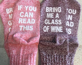 Wine Socks - Christmas Gift - If You Can Read This Bring Me a Glass of Wine Socks -Christmas Gift for Mom - Gift Under 15 - Stocking Stuffer