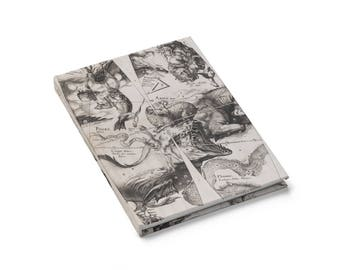 Antique Zodiac Journal Taurus Pisces Aries, Ruled Lined Hardcover Blank Book, Celestial Constellations, Mythological Creature Star Map Print