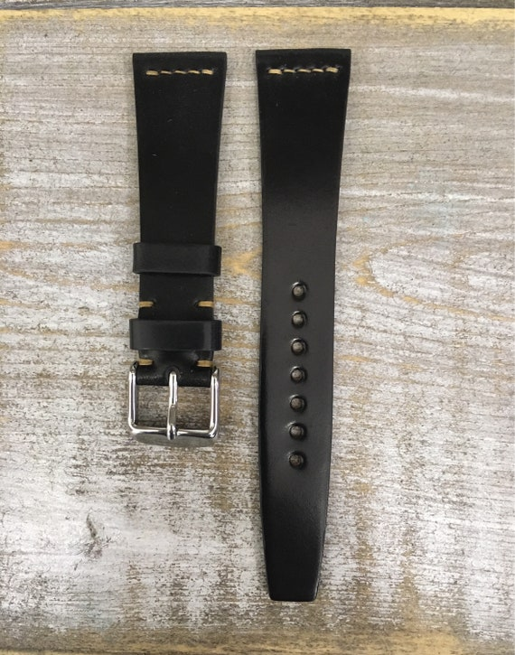 20/16mm Black VTG style Horween Shell Cordovan watch band - simple middle stitch