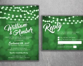 Wedding Invitation, Lights Wedding Invitation, Wedding Invite, Rustic Wedding Invitation, Blue and White, String Lights, Country Invite