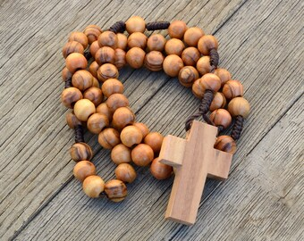 Handmade Authentic Olive Wood Rosary in Natural Cotton Rosary Pouch