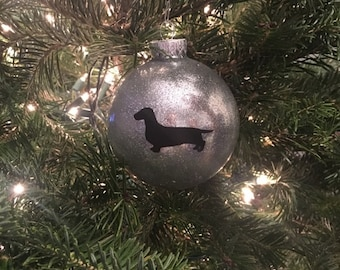 Personalized Glass Dachshund Doxie Pet Dog Christmas Holiday Ornament Gift