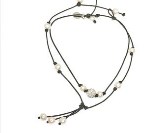 Real pearl and leather cord necklaces