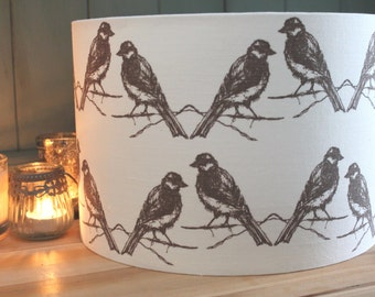 Unfinished brass lamp with navy blue linen lamp shade with birds lamp shade mozeypictures Choice Image