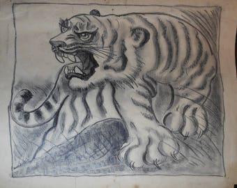 vintage tiger drawing ca.1900
