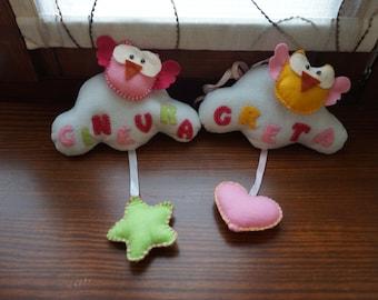 Newborn baby nursery decoration/ felt cloud with owl and baby name
