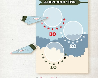 Boys 3rd Birthday PARTY game / Aviation Theme / Personalized / Blue, Green and Red / Airplane Toss / Paper Airplanes / 24x36 – Printable DIY
