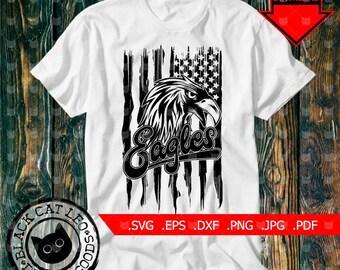 Digital Eagles head on grunge american flag and inscription Eagles SVG DXF Vector t shirt design Eagle Mascot Wall decor clip art Animal
