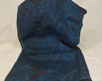 A Beautiful Blue & Black Laura Ashley Long Silk Scarf 66 x 21 Inches
