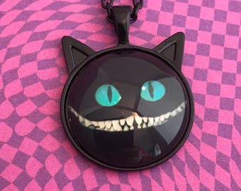 Black Cheshire Cat Pendant Necklace or Key Chain
