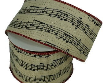 """2.5"""" IVORY Fabric Musical Notes WIRED Ribbon with Red Trim 10 Yards"""