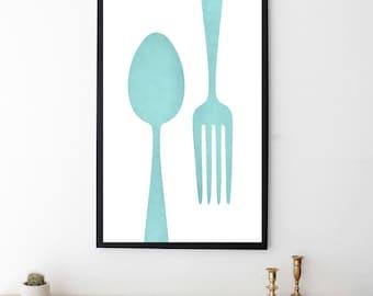 Kitchen Decor - Kitchen Wall Art - Dining Room Decor - Kitchen Art - Home Decor - Kitchen Print - Silverware Art - Modern Kitchen Printable